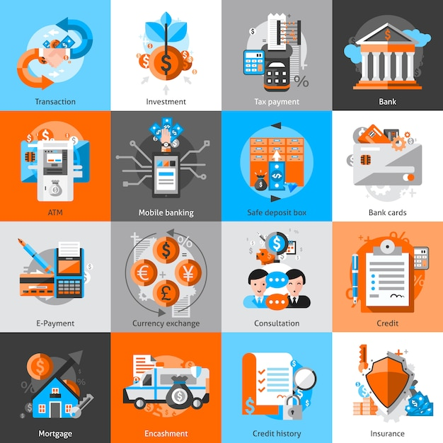 Banking icons set Free Vector