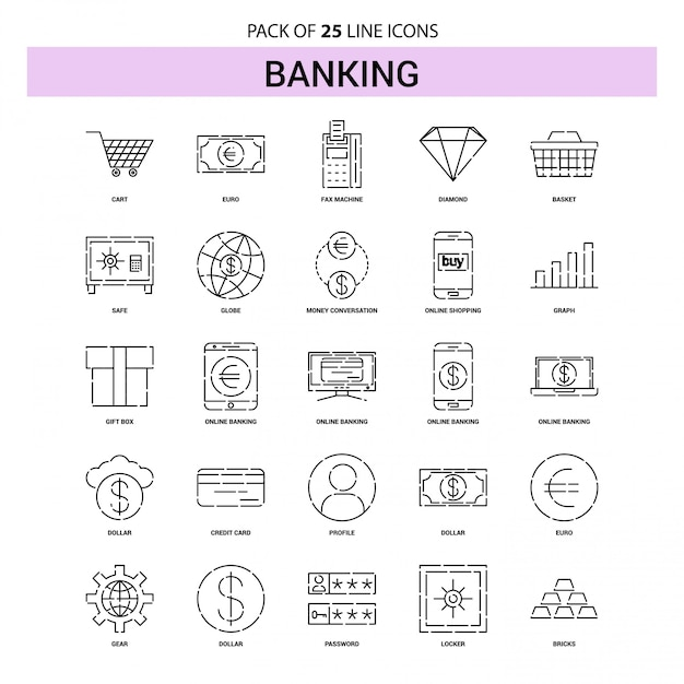 Banking line icon set - 25 dashed outline style Premium Vector