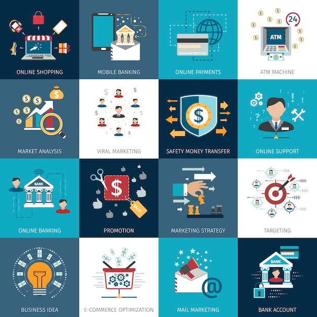 Banking marketing concept flat icons set Free Vector