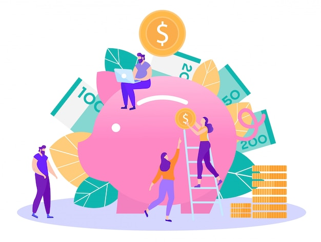 Banking and money savings flat vector concept Premium Vector