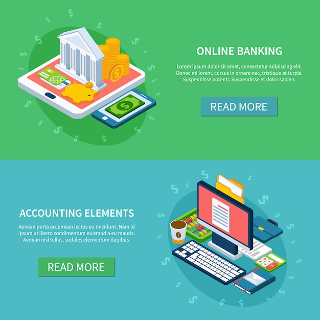 Banking online banners set Free Vector