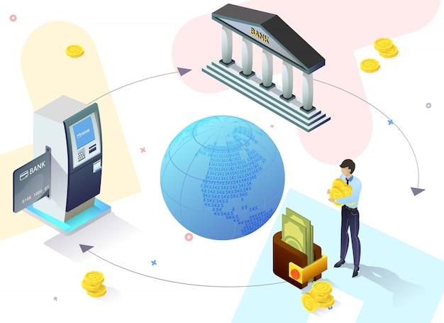Рекламный плакат интернет-сервиса banking slide. Premium векторы
