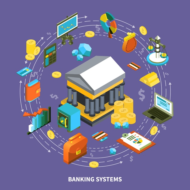 Banking systems isometric round composition Free Vector