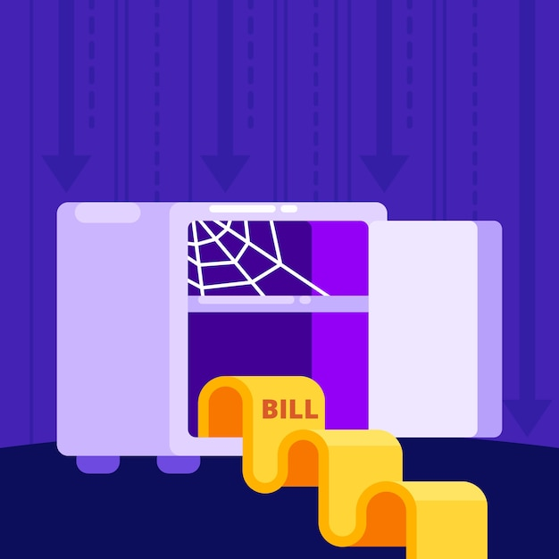 Bankruptcy concept with bill Free Vector