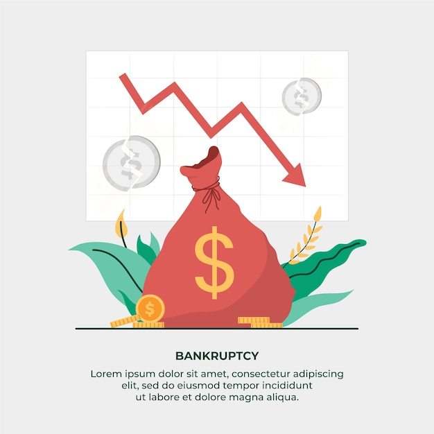Bankruptcy concept with money bag Free Vector