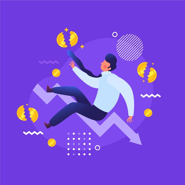 Bankruptcy man with money loss Free Vector