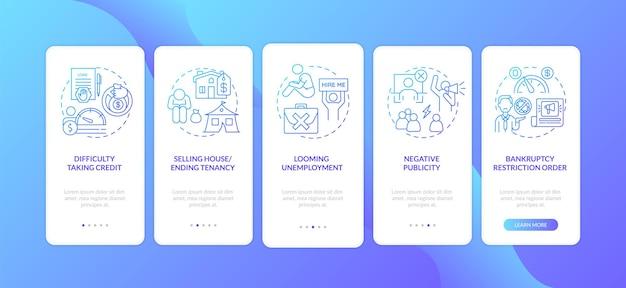 破産の悪影響ダークブルーのオンボーディングモバイルアプリのページ画面と概念が分離されました Premiumベクター