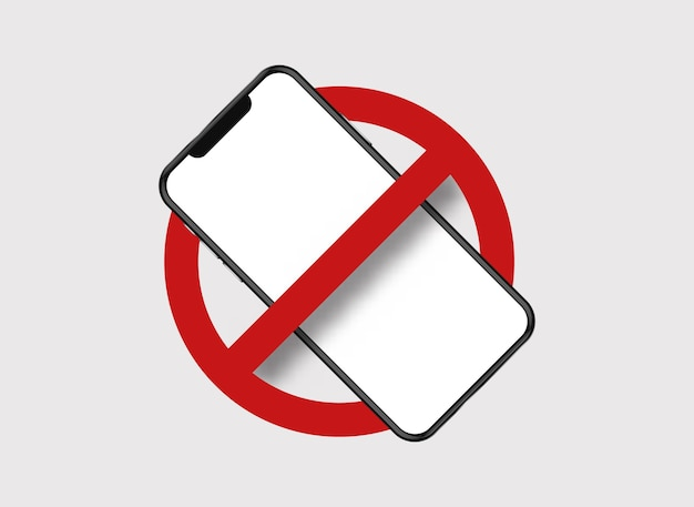 휴대 전화를 금지했습니다. 프리미엄 벡터