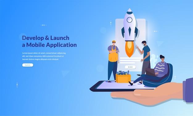 モバイルアプリケーションのコンセプトの開発と開始に関するバナー Premiumベクター