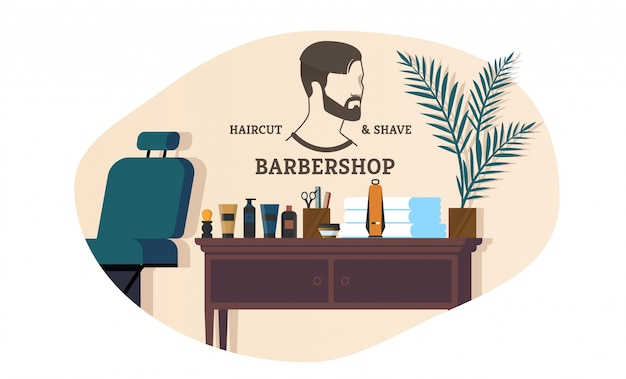 Banner advertising barbershop haircut and shave. Premium Vector