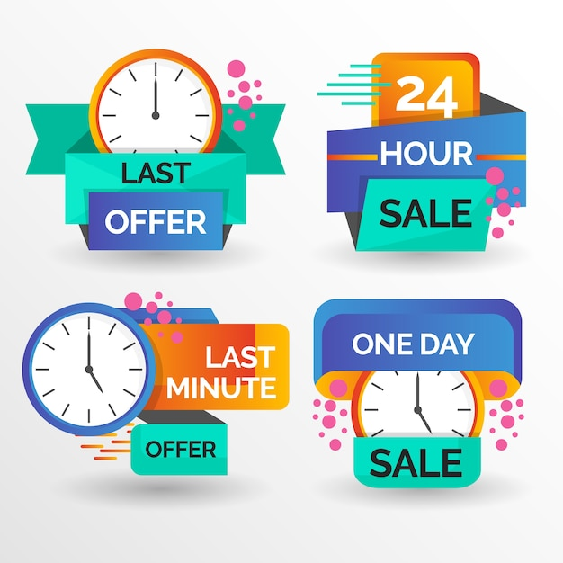 Banner assortment with countdown Free Vector