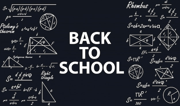 Banner back to school with geometric figures. Premium Vector