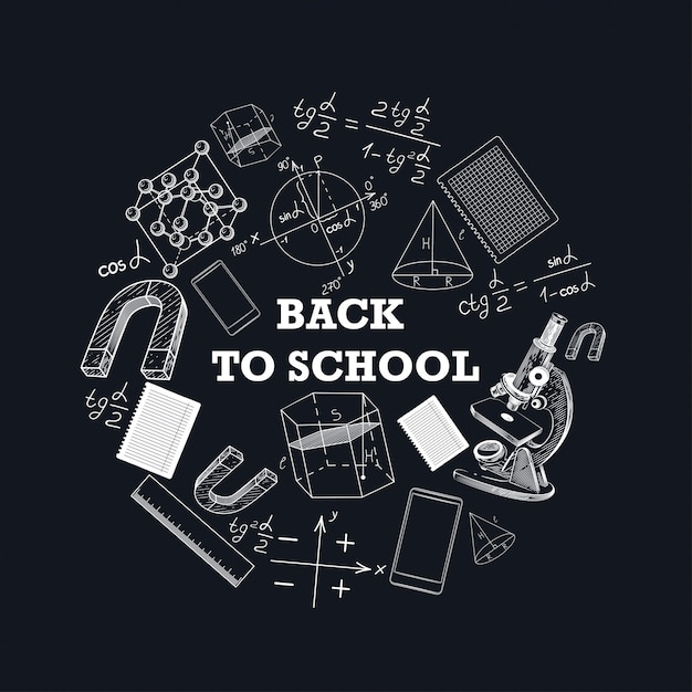 Banner back to school with a picture of school supplies. Premium Vector