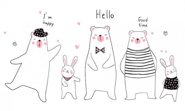 Banner background funny animal doodle style Premium Vector