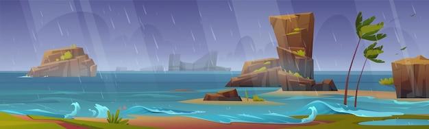 벤딩 야자수와 주위 바위와 바다 해변에서 열 대 폭풍우 배너 배경. 무료 벡터
