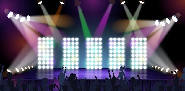 Banner big concert stage vector illustration. Premium Vector