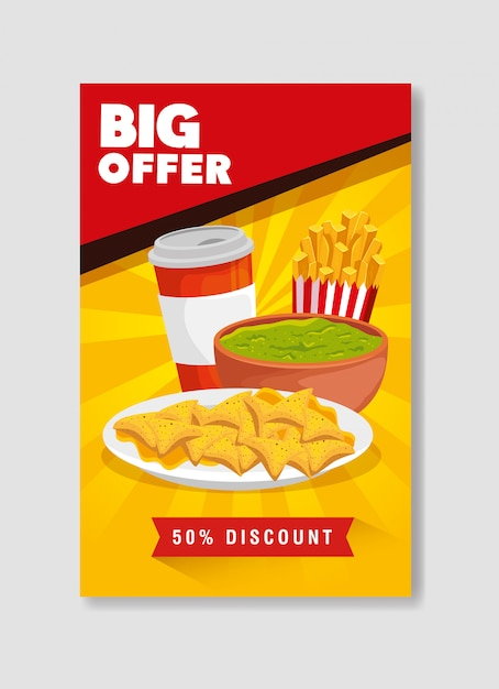 Banner big offer of nachos and guacamole with fifty percent discount Free Vector