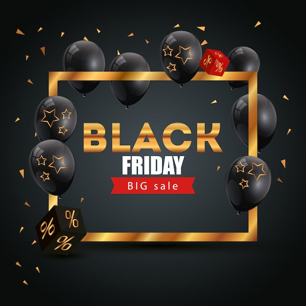 Banner black friday poster with big offer lettering Free Vector