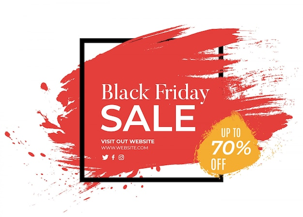 Banner for black friday with red splash Free Vector