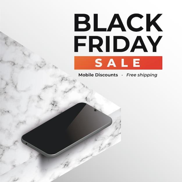Баннер черная пятница со смартфоном на мраморе Бесплатные векторы