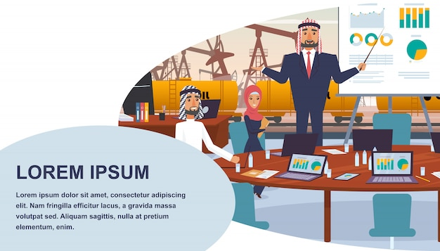 Banner business meeting oil company management Premium Vector