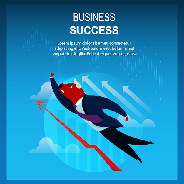 Banner business success trader bull flying Premium Vector