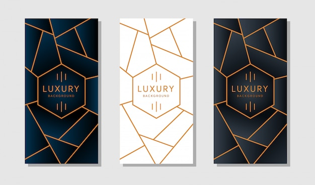 Banner or card with modern golden geometric borders on a white background. Premium Vector