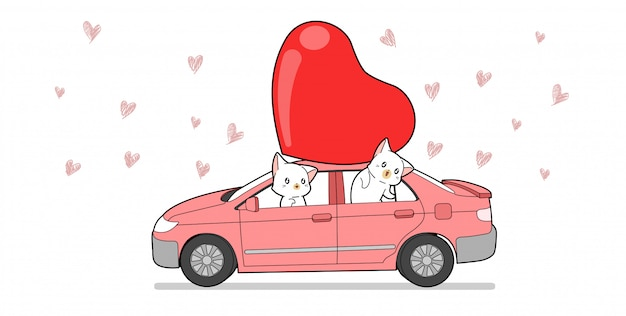 Banner cat character inside car with red big heart Premium Vector