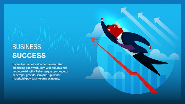 Banner character trader bull business success template Premium Vector