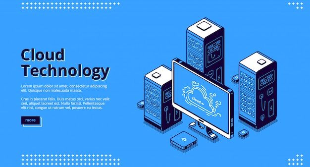 Banner of cloud technology Free Vector
