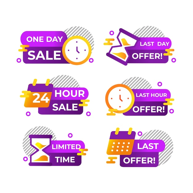 Banner collection with countdown Free Vector