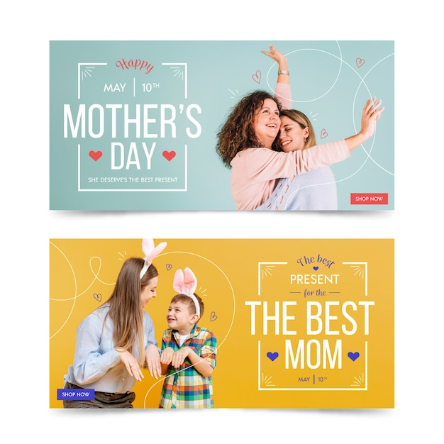 Banner collection with mothers day concept Free Vector