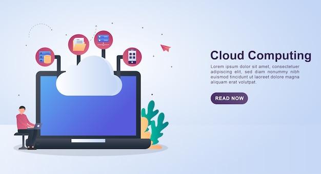Баннер концепция с облаком, соединяющим компьютерные технологии. Premium векторы