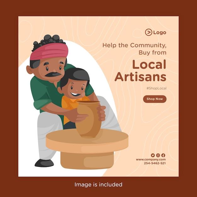 土鍋を作る陶芸家と地元の職人から購入のバナーデザイン Premiumベクター