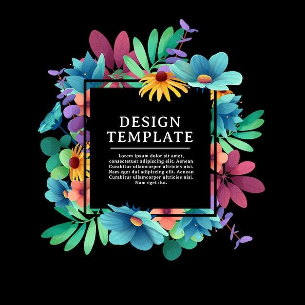 花飾り付きバナーデザインテンプレートです。花、葉、小枝の装飾が施された黒い正方形のフレーム。夏の花束と黒の背景上のテキストのための場所での豪華な招待状。 Premiumベクター