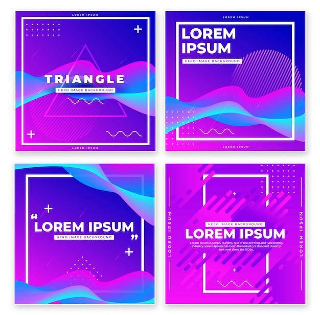 Banner design with geometric elements set. Premium Vector