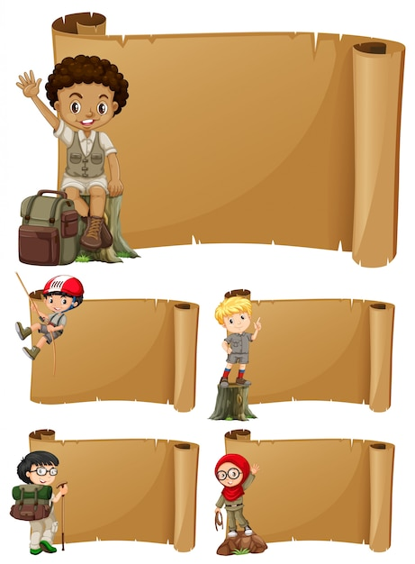Banner design with girls and boys