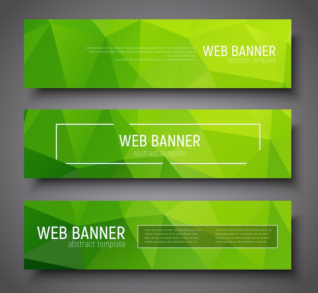 Banner design with green abstract polygonal background, borders and text. set Premium Vector