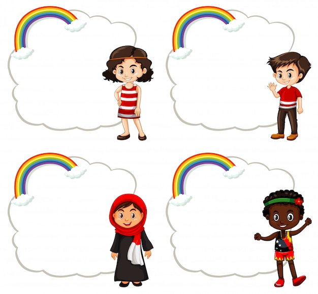 Дизайн баннера со счастливыми детьми Premium векторы