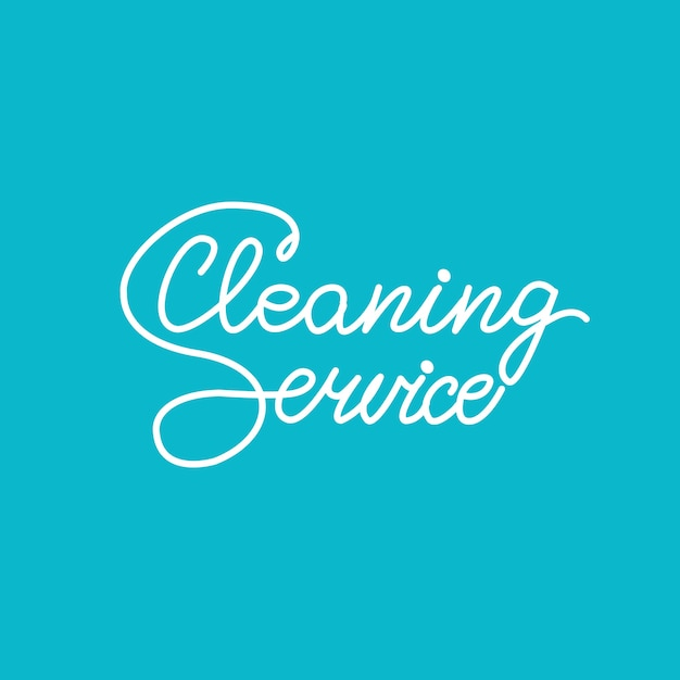 Banner design with lettering cleaning service. vector illustration. Premium Vector