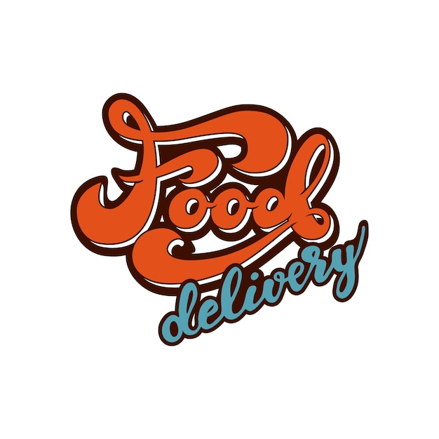 Banner design with lettering food delivery. vector illustration. Premium Vector