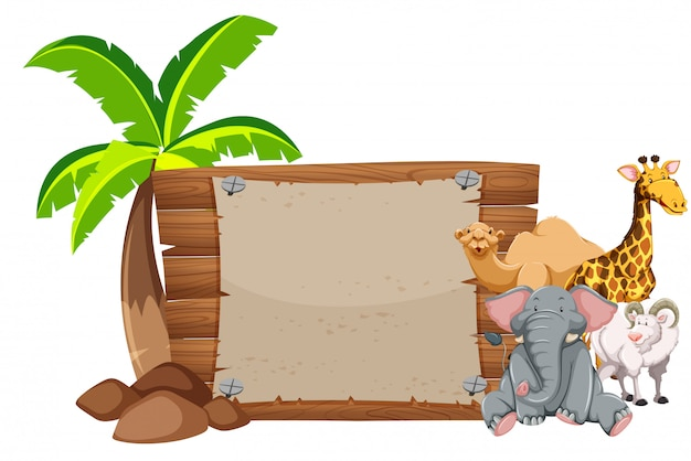 Banner design with many animals Free Vector
