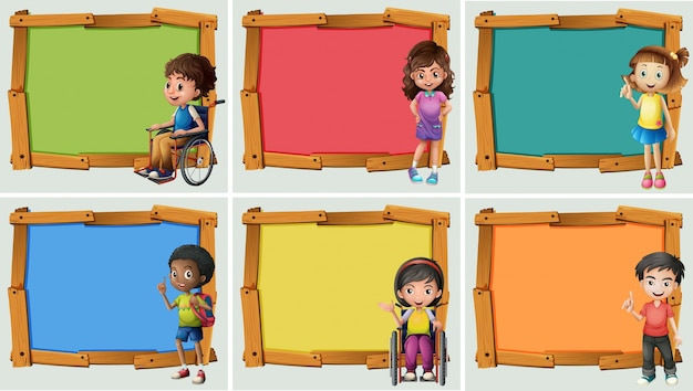 Banner design with many children Free Vector