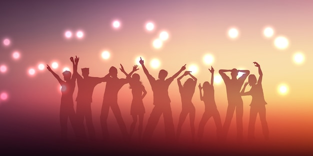 Banner design with silhouettes of people dancing Free Vector