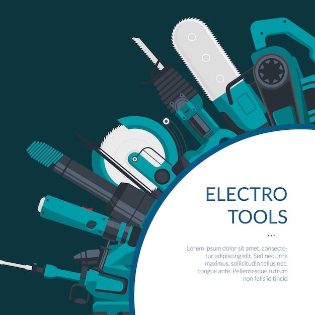 premium vector   banner of electric construction tools  freepik