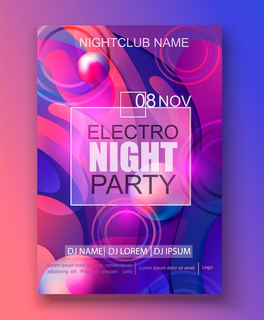 Banner for electro night party, gradient background Premium Vector