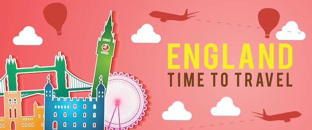 Banner of england famous landmark Premium Vector