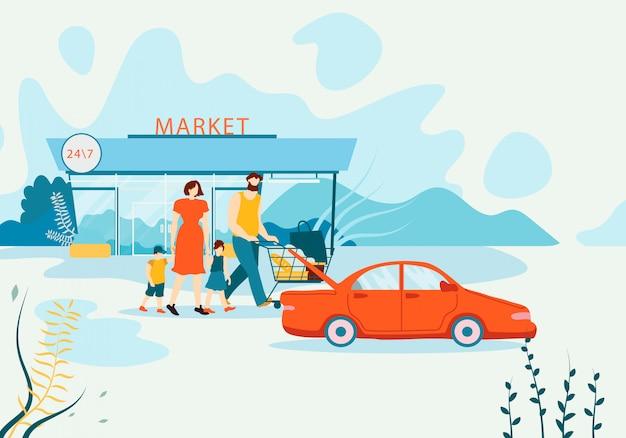 Banner family buys groceries in supermarket flat. Premium Vector