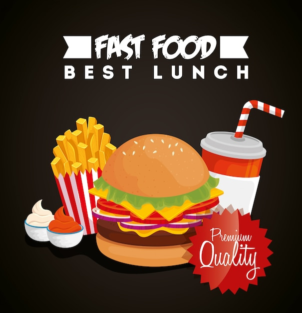Banner of fast food with hamburger and premium quality Free Vector