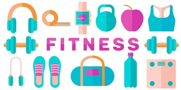 Banner of fitness concept Premium Vector